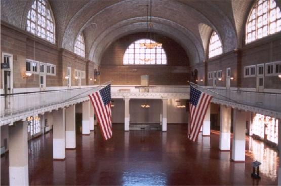 The restored Great Hall at Ellis Island
